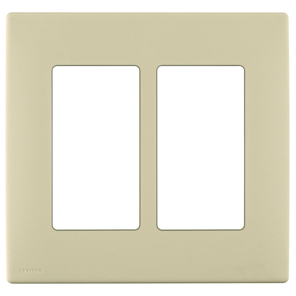 2-Gang Screwless Snap-On Wallplate for Two Devices, in Wispering Wheat