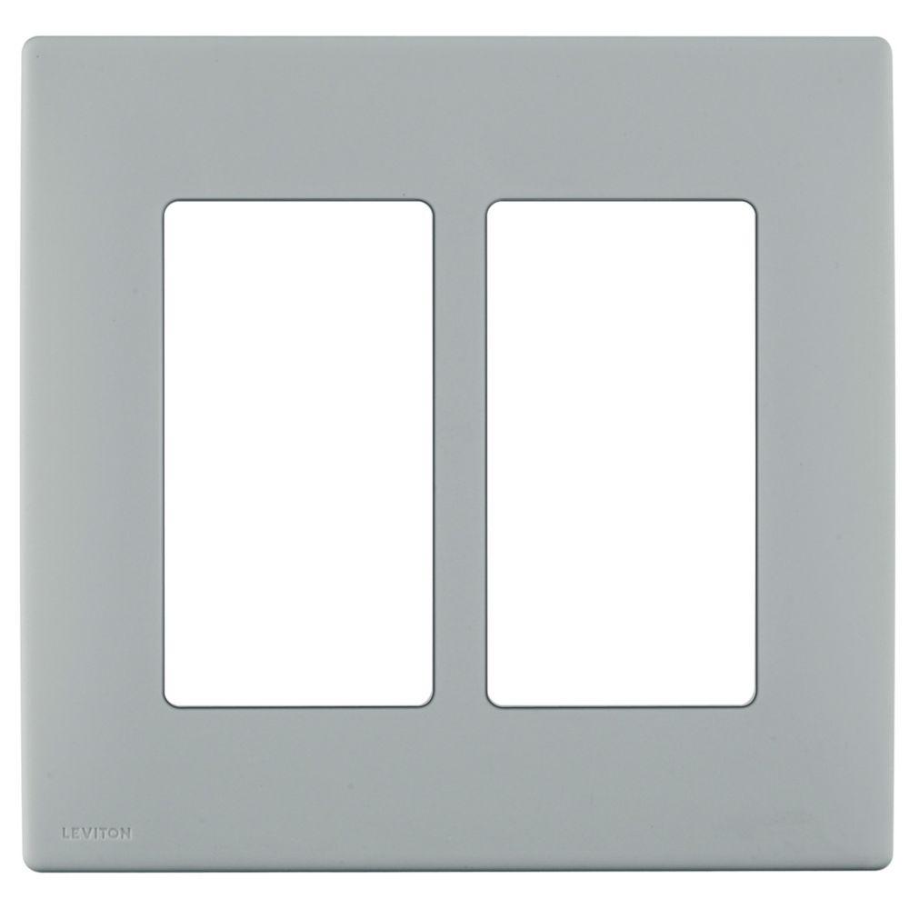 Plaque sans vis enclipsable Renu pour deux dispositifs, en gris de galet.