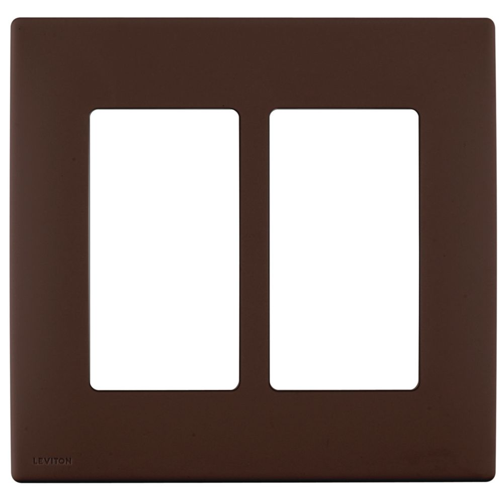 2-Gang Screwless Snap-On Wallplate for Two Devices, in Walnut Bark