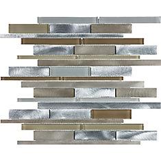 Expressomélangebrossé aluminium verre bande aléatoire mosaïques