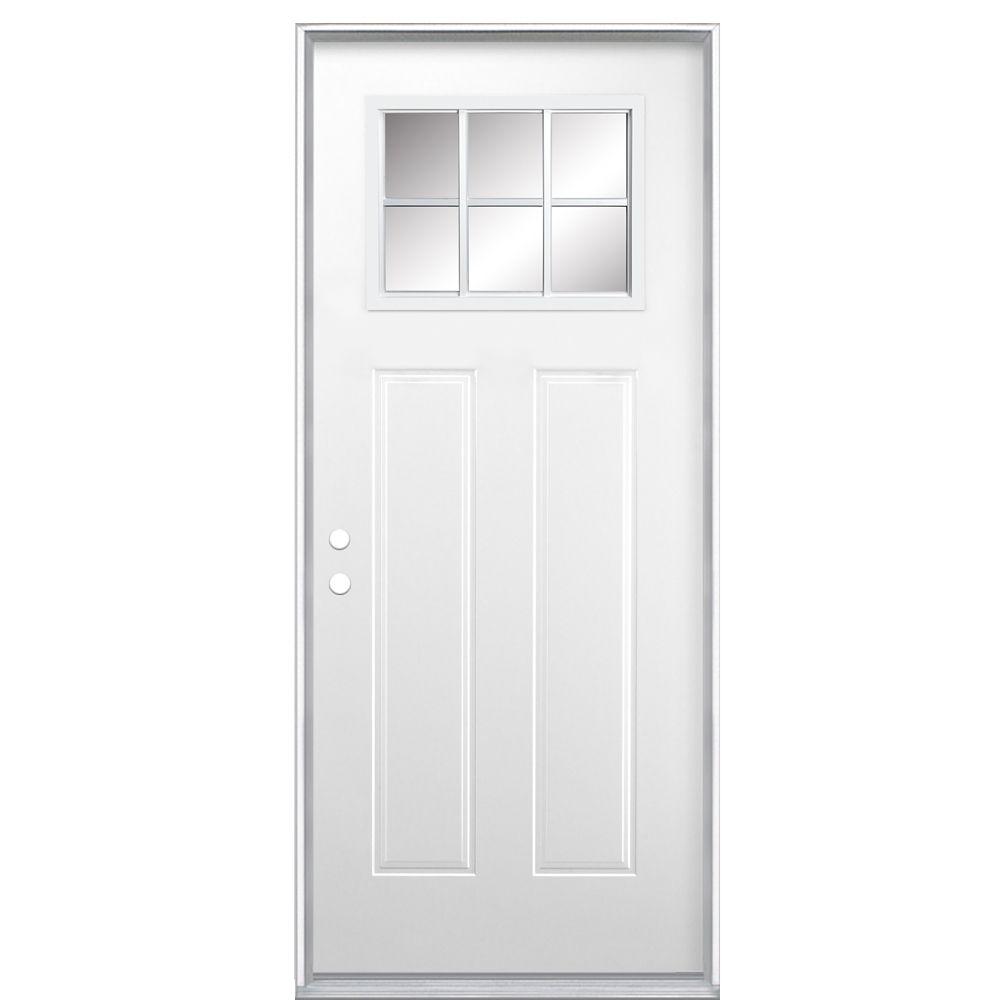 32-inch x 4 9/16-inch Craftsman 6-Lite Low-E Left Hand Door