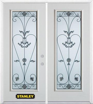 66-inch x 82-inch Blacksmith Full Lite White Double Steel Door with Astragal and Brickmould