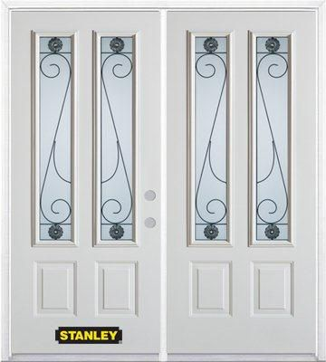 66-inch x 82-inch Blacksmith 2-Lite 2-Panel White Double Steel Door with Astragal and Brickmould