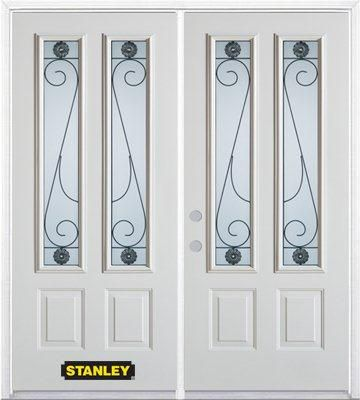 74-inch x 82-inch Blacksmith 2-Lite 2-Panel White Double Steel Door with Astragal and Brickmould