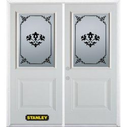Stanley Doors 75 inch x 82.375 inch Renoir 1/2 Lite 1-Panel Prefinished White Right-Hand Inswing Steel Prehung Double Door with Astragal and Brickmould