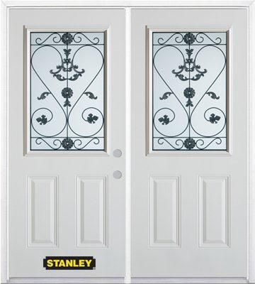 66-inch x 82-inch Blacksmith 1/2-Lite 2-Panel White Double Steel Door with Astragal and Brickmoul...
