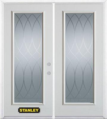 74-inch x 82-inch Bourgogne Full Lite White Double Steel Door with Astragal and Brickmould