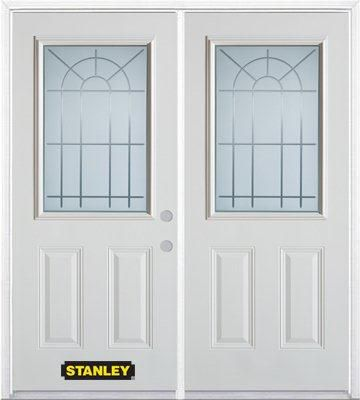 74-inch x 82-inch Chablis 1/2-Lite 2-Panel White Double Steel Door with Astragal and Brickmould