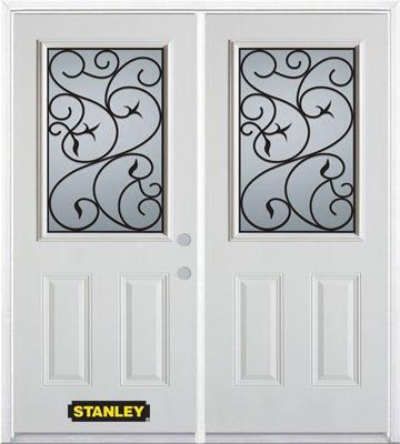 70-inch x 82-inch Borders 1/2-Lite 2-Panel White Double Steel Door with Astragal and Brickmould