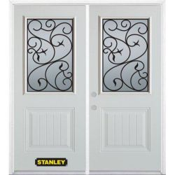Stanley Doors 75 inch x 82.375 inch Borduas 1/2 Lite 1-Panel Prefinished White Right-Hand Inswing Steel Prehung Double Door with Astragal and Brickmould