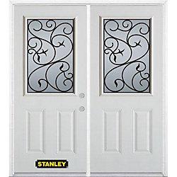Stanley Doors Porte dentrée double en acier préfini blanc, munie de deux panneaux et dun 1/2 verre, 66 po x 82 po avec astragale et moulure de brique