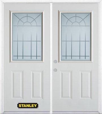 66-inch x 82-inch Chablis 1/2-Lite 2-Panel White Double Steel Door with Astragal and Brickmould
