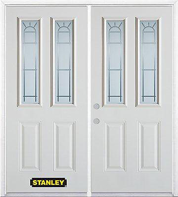 75 inch x 82.375 inch Chablis 2-Lite 2-Panel Prefinished White Right-Hand Inswing Steel Prehung Double Door with Astragal and Brickmould