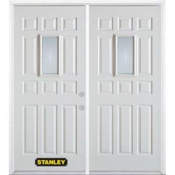 Stanley Doors 75 inch x 82.375 inch Beaujolais Rectangular Lite 12-Panel Prefinished White Left-Hand Inswing Steel Prehung Double Door with Astragal and Brickmould