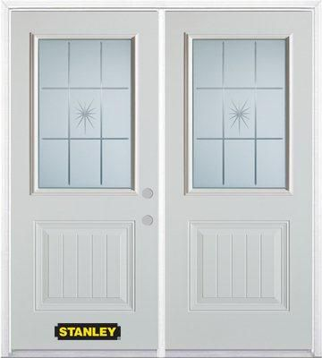 66-inch x 82-inch Beaujolais 1/2-Lite 1-Panel White Double Steel Door with Astragal and Brickmoul...