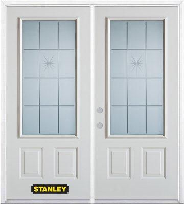 70-inch x 82-inch Beaujolais 3/4-Lite 2-Panel White Double Steel Door with Astragal and Brickmoul...