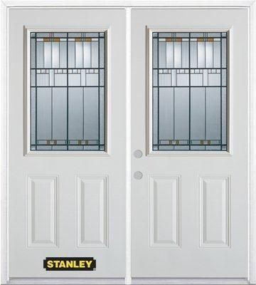66-inch x 82-inch Chicago 1/2-Lite 2-Panel White Double Steel Door with Astragal and Brickmould