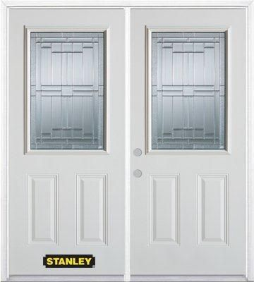 74-inch x 82-inch Seattle 1/2-Lite 2-Panel White Double Steel Door with Astragal and Brickmould