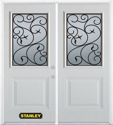 70-inch x 82-inch Borders 1/2-Lite 1-Panel White Double Steel Door with Astragal and Brickmould