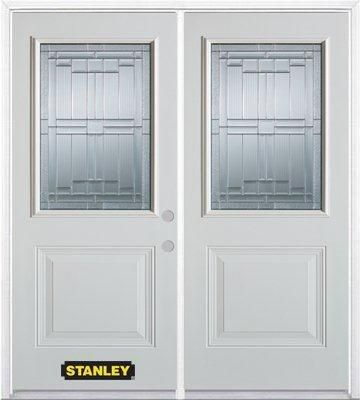 66-inch x 82-inch Seattle 1/2-Lite 1-Panel White Double Steel Door with Astragal and Brickmould