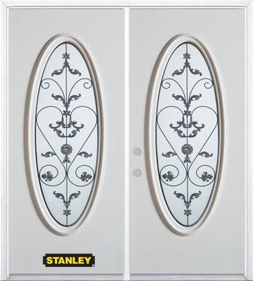 Stanley Doors 67 inch x 82.375 inch Blacksmith Full Oval Lite Prefinished White Right-Hand Inswing Steel Prehung Double Door with Astragal and Brickmould