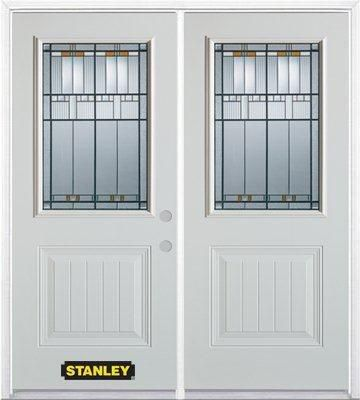 70-inch x 82-inch Chicago 1/2-Lite 1-Panel White Double Steel Door with Astragal and Brickmould