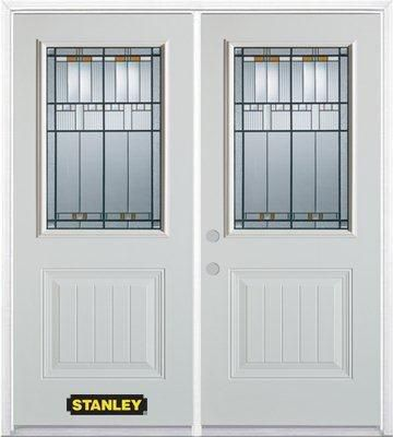 74-inch x 82-inch Chicago 1/2-Lite 1-Panel White Double Steel Door with Astragal and Brickmould