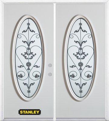 Porte dentrée double en acier préfini blanc, munie dun verre ovale, 66 po x 82 po avec astragale ...