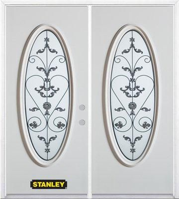 70-inch x 82-inch Blacksmith Full Oval Lite White Double Steel Door with Astragal and Brickmould