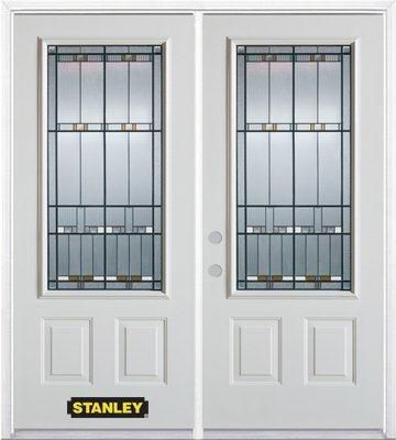 70-inch x 82-inch Chicago 3/4-Lite 2-Panel White Double Steel Door with Astragal and Brickmould