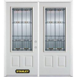 Stanley Doors 75 inch x 82.375 inch Chicago Patina 3/4 Lite 2-Panel Prefinished White Left-Hand Inswing Steel Prehung Double Door with Astragal and Brickmould