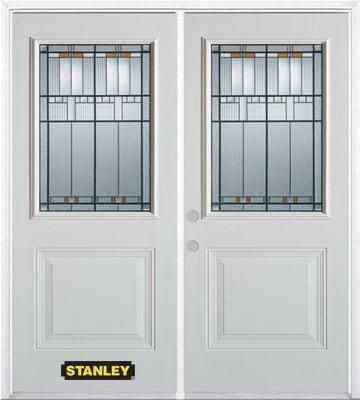 66-inch x 82-inch Chicago 1/2-Lite 1-Panel White Double Steel Door with Astragal and Brickmould