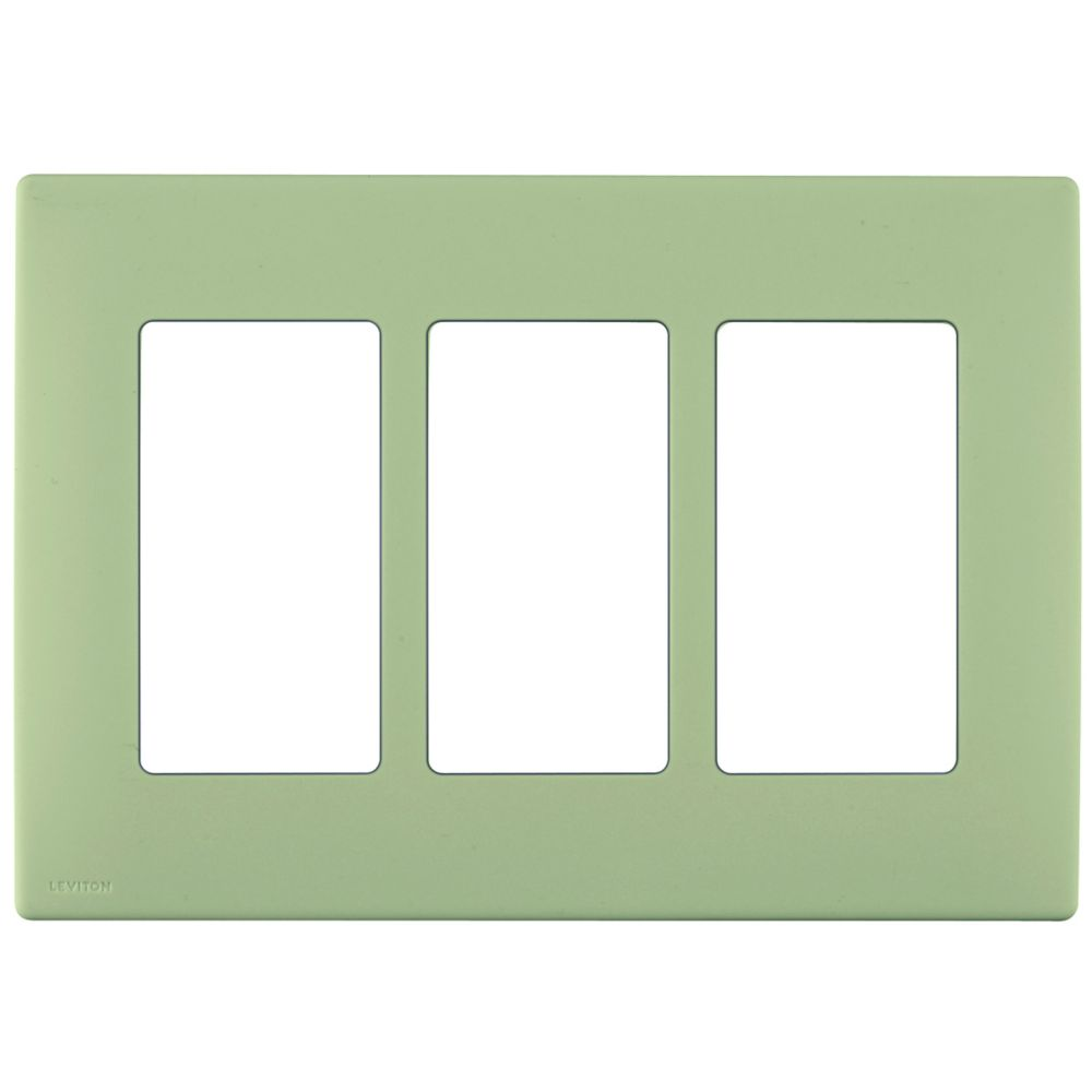 3-Gang Screwless Snap-On Wallplate for 3 Devices, in Prairie Sage
