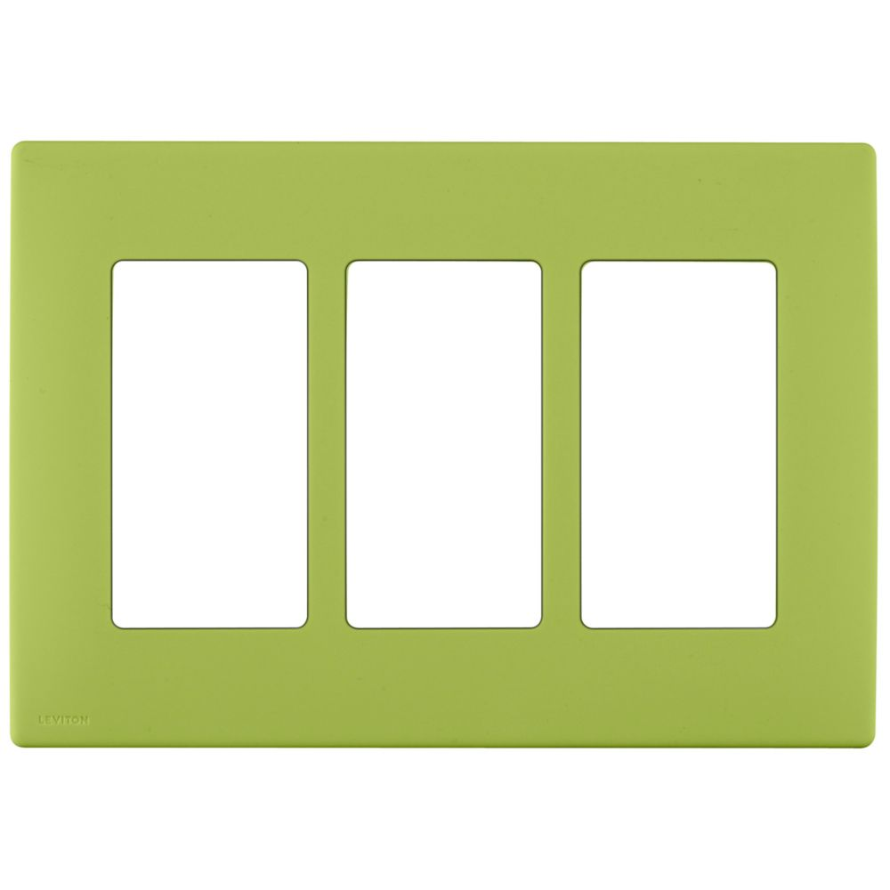 3-Gang Screwless Snap-On Wallplate for 3 Devices, in Granny Smith Apple