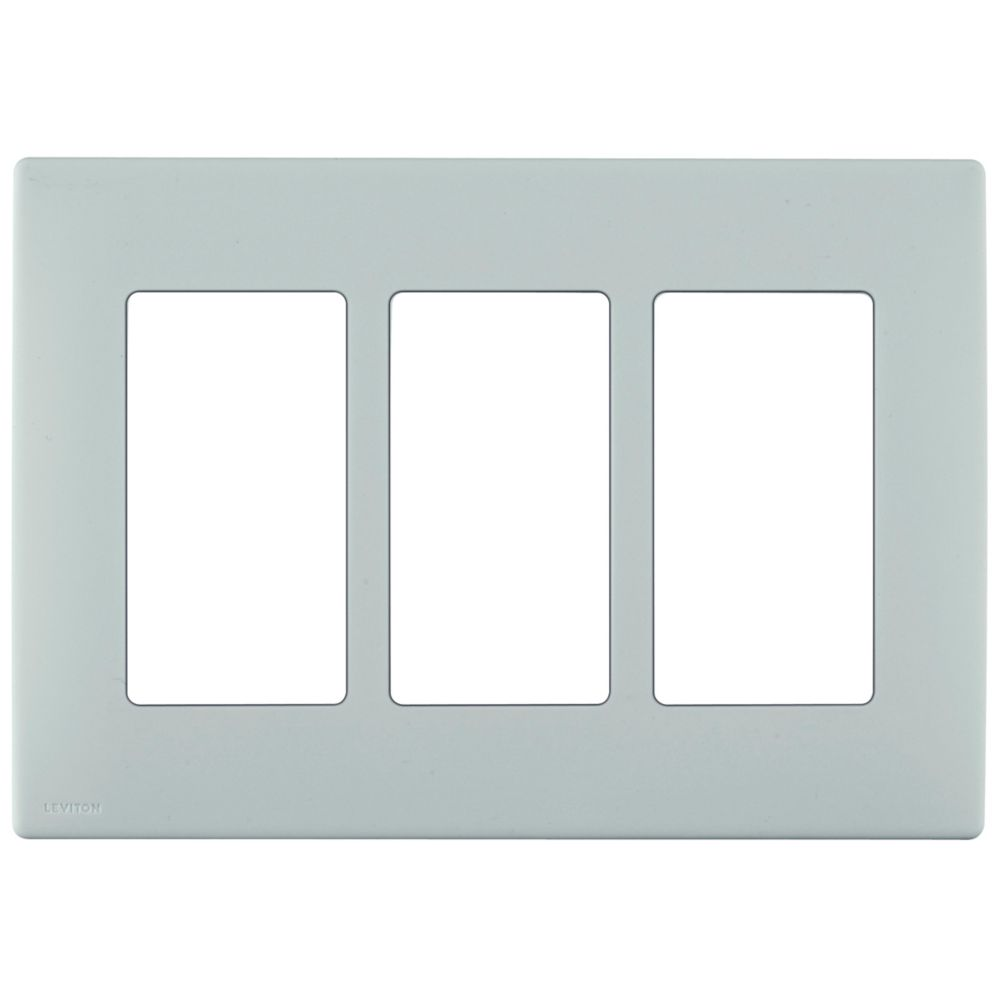 3-Gang Screwless Snap-On Wallplate for 3 Devices, in Sea Spray