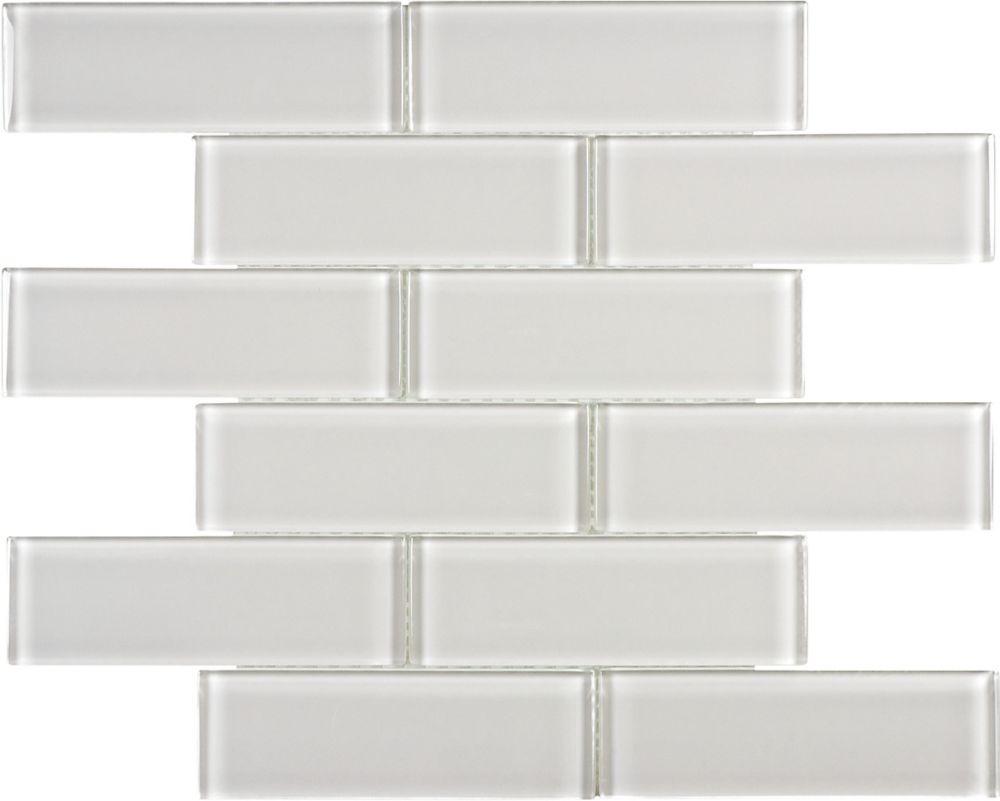 2x6 Mosaïques en brique verre brume arctique