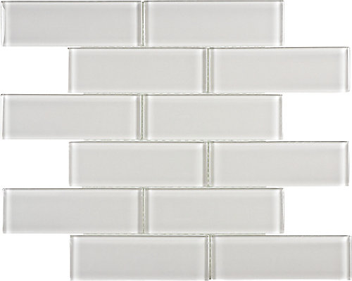 Sassi 2-inch x 6-inch Glass Brick Mosaic Tile in Arctic Fog | The ...
