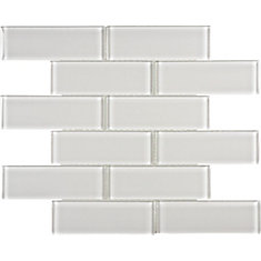 2-inch x 6-inch Glass Brick Mosaic Tile in Arctic Fog