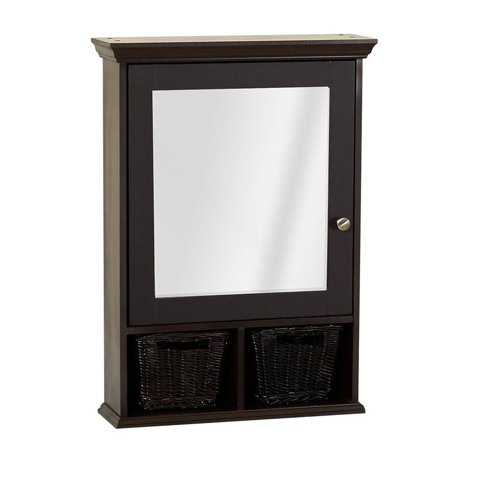 Espresso Decorative Medicine Cabinet With Baskets