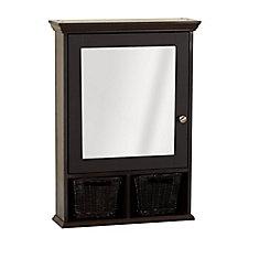 Espresso Decorative Medicine Cabinet With Baskets
