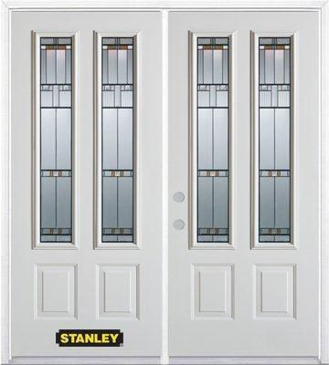 74-inch x 82-inch Chicago 2-Lite 2-Panel White Double Steel Door with Astragal and Brickmould