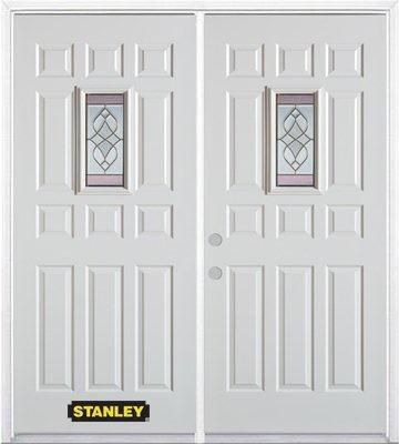 66-inch x 82-inch Rectangular Lite 11-Panel White Double Steel Door with Astragal and Brickmould