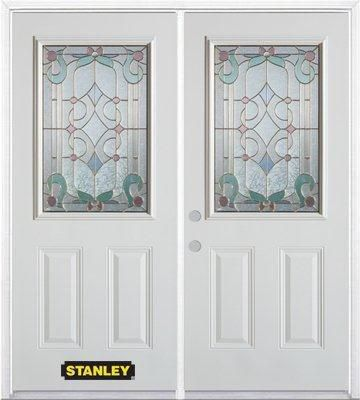 74-inch x 82-inch Aristocrat 1/2-Lite 2-Panel White Double Steel Door with Astragal and Brickmoul...