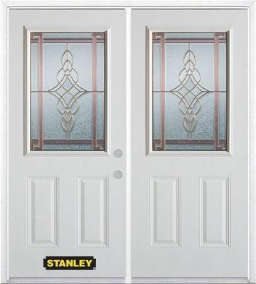 74-inch x 82-inch Milano 1/2-Lite 2-Panel White Double Steel Door with Astragal and Brickmould