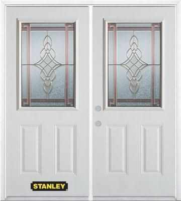 66-inch x 82-inch Milano 1/2-Lite 2-Panel White Double Steel Door with Astragal and Brickmould