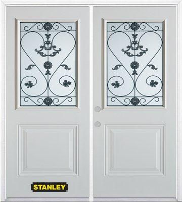 74-inch x 82-inch Blacksmith 1/2-Lite 1-Panel White Double Steel Door with Astragal and Brickmoul...