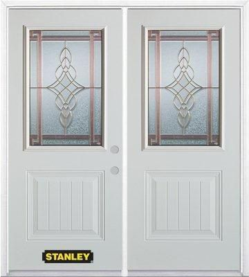 74-inch x 82-inch Milano 1/2-Lite 1-Panel White Double Steel Door with Astragal and Brickmould