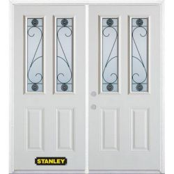 Stanley Doors 75 inch x 82.375 inch Blacksmith 2-Lite 2-Panel Prefinished White Right-Hand Inswing Steel Prehung Double Door with Astragal and Brickmould
