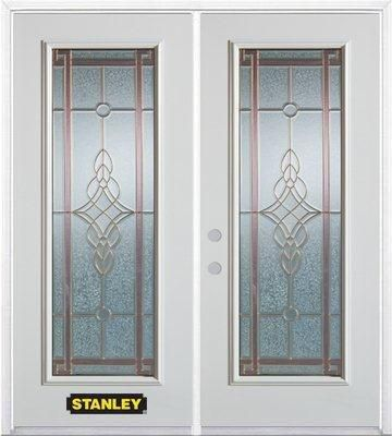 74-inch x 82-inch Milano Full Lite White Double Steel Door with Astragal and Brickmould