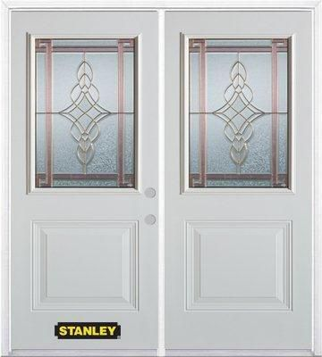 66-inch x 82-inch Milano 1/2-Lite 1-Panel White Double Steel Door with Astragal and Brickmould